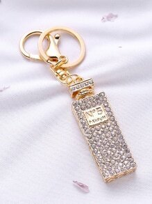 Gold Rhinestone Perfume Bottle Keychain