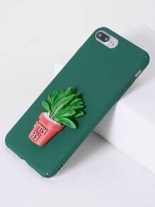 Funda para iphone 7plus con diseño de planta en maceta - verde