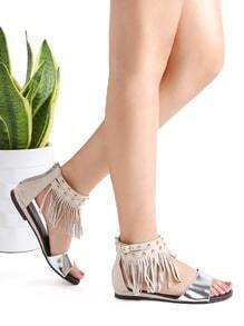 silver fringe détail cheville flat sandales