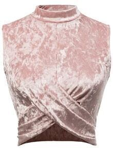 Pink Overlap Front Sleeveless Velvet Top