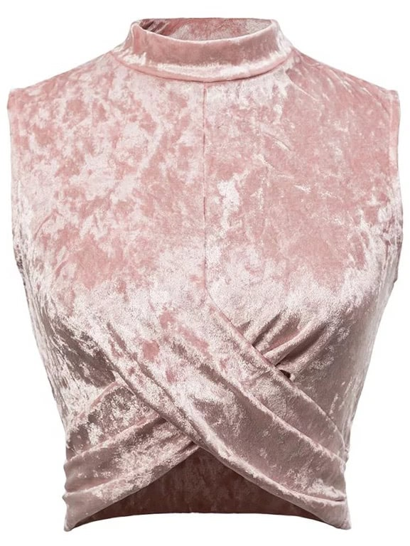Pink Overlap Front Sleeveless Velvet Top