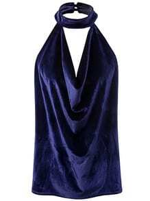 Royal Blue Halter Sleeveless Velvet Top