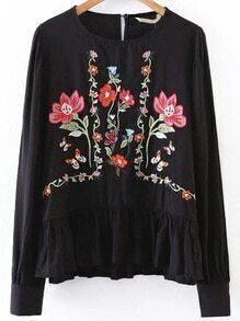 Black Flower Embroidery Ruffle Hem Blouse