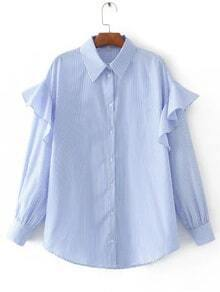Blue Vertical Striped Ruffle Trim Blouse