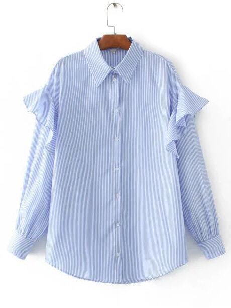 Голубая Блузка В Полоску Купить