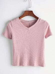 Pink V Neck Ribbed T-shirt