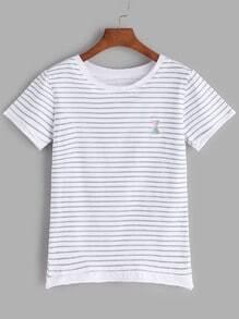 Camiseta de rayas con bordado - azul