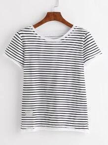Gestreiftes Hemd mit Patch - schwarz weiß