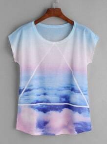 Camiseta con estampado de triángulo - azul