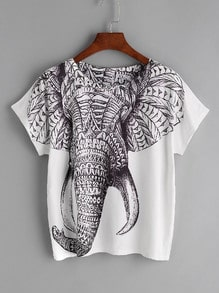 Imprimer Elephant T-shirt - blanc