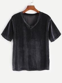 Black V Neck Velvet T-shirt