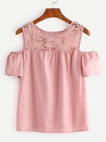Pink Lace Splicing Hollow Out Top
