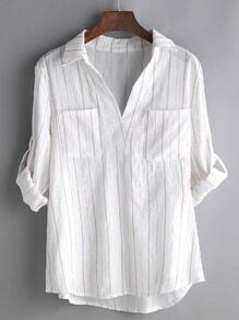 White Vertical Striped Roll Tab Sleeve Blouse