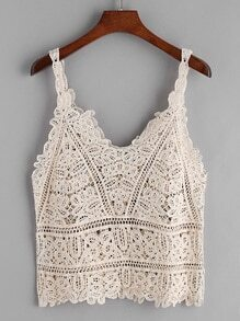 Apricot Crochet Lace Hollow Out Cami Top