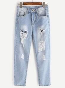 jeans déchirés lavés effet droit - bleu