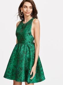 Green Zipper Back Jacquard Skater Dress