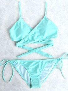 Set bikini cruzado con cordón lateral - azul