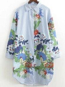 Blue Flower Print Vertical Striped Shirt Dress