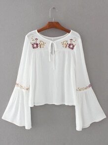 White Flower Embroidery Tie Neck Bell Sleeve Blouse
