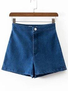 Blue Loose Denim Shorts