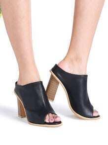 Black Peep Toe PU Chunky Heels