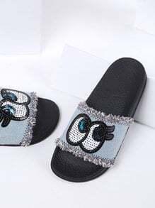 Light Blue Eye Detail Denim Flat Slippers
