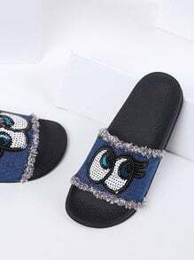 Blue Eye Detail Denim Flat Slippers