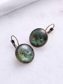 Peacock Pattern Bronze Detail Earrings