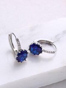 Royal Blue Rhinestone Hoop Earrings