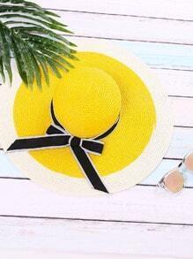 Jaune, vacances, arc, cravate, paille, chapeau