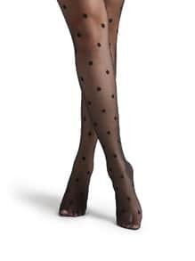 Black Polka Dot Pattern Sheer Mesh Pantyhose Stockings