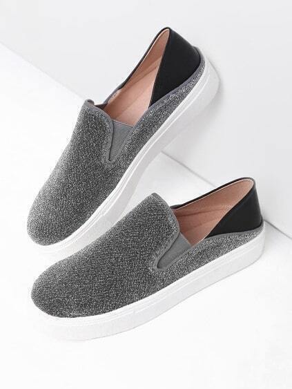 Silver Round Toe Glitter Flatform Sneakers
