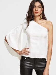 Beige One Shoulder Flared Sleeve Top