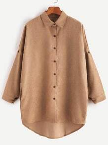 Khaki Drop Shoulder High Low Shirt