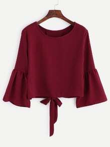 Burgundy Bell Sleeve Bow Tie Back Blouse