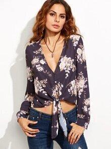 Bluse mit tiefem V-Ausschnitt und Blumenmuster