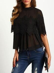Black Crew Neck Lace Chiffon Blouse