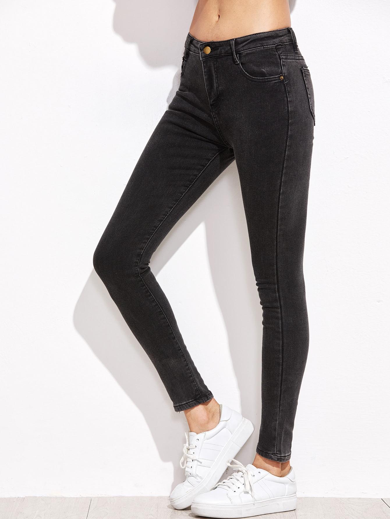 Dark Grey Pocket Skinny Jeans