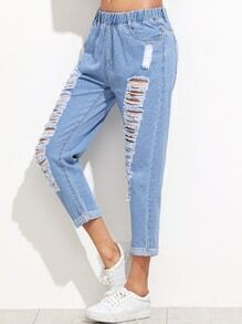 Blue Distressed Cuffed Jeans