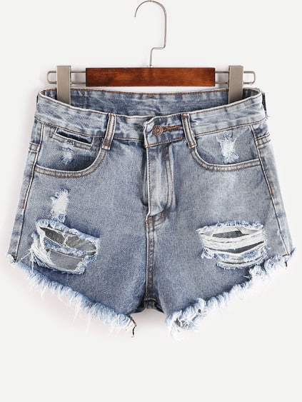 Shorts rotos deflecados en denim - azul