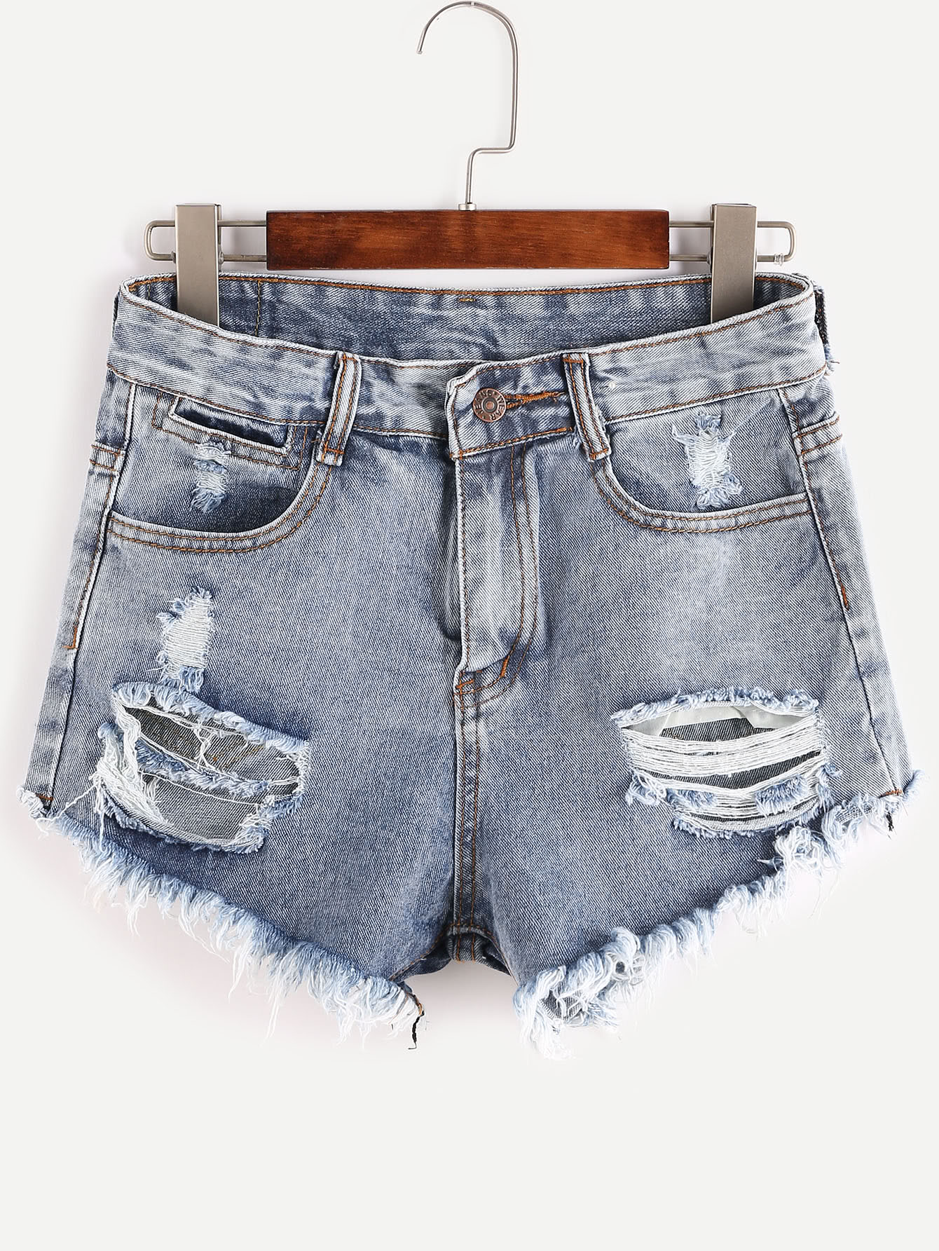 Blue Ripped Bleached Raw Hem Denim Shorts