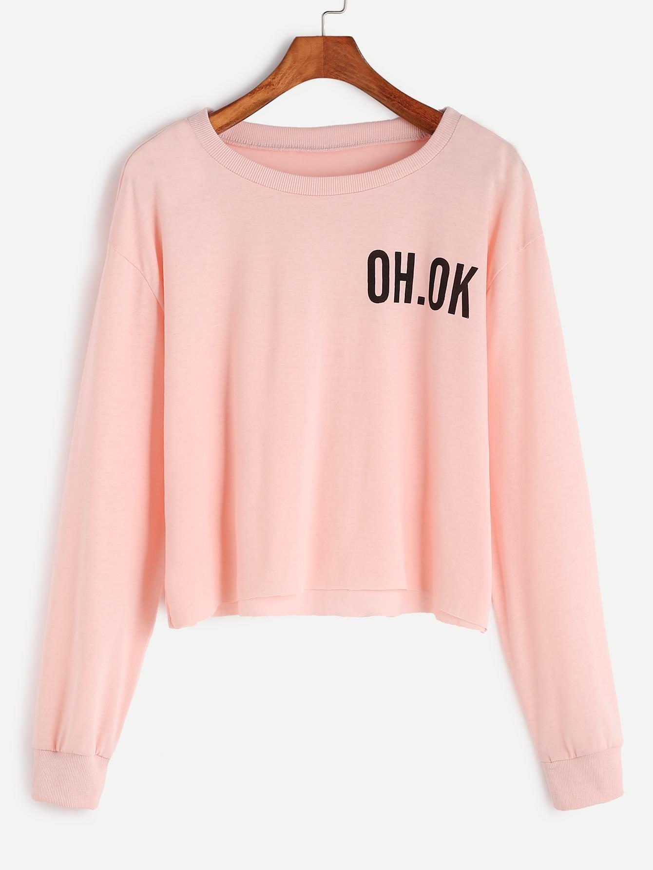 Pink Drop Shoulder Letter Print Raw Hem Crop Sweatshirt