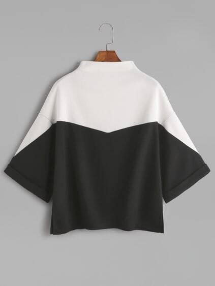 Color Block Mock Neck Slit Side Cuffed T-shirt