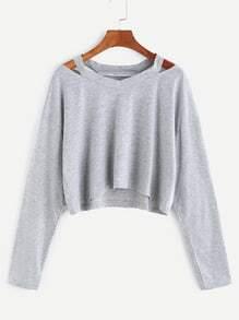 T-shirt à col découpé court -gris