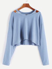 Kurze T-shirt Cut-Outs Kragen-blau
