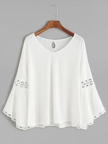 White V Neck Contrast Crochet Keyhole Back T-shirt