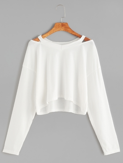 White Cut Out Neck Crop T-shirt