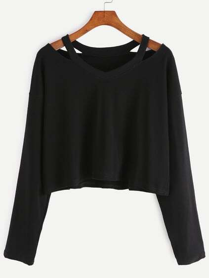 Black Cut Out Neck T-shirt