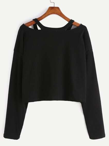 Romwe / Black Cut Out Neck T-shirt