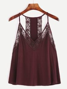 Burgundy Contrast Lace Cami Top